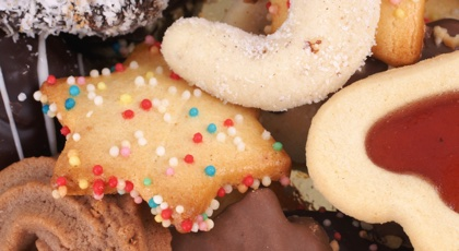 Detail of delicious Christmas cookies with chocolate